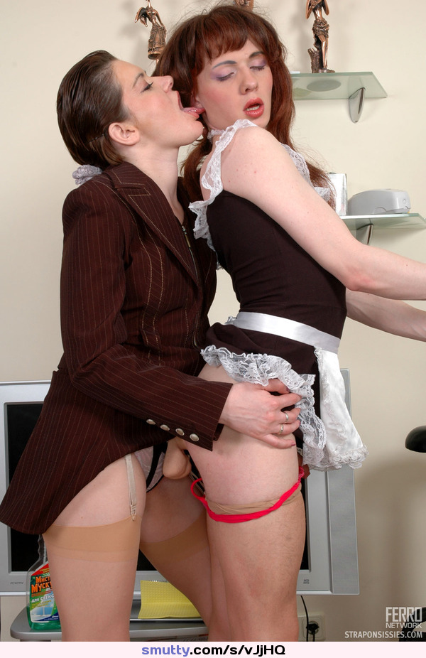 Young slave using strapon on lesbian mistress 8