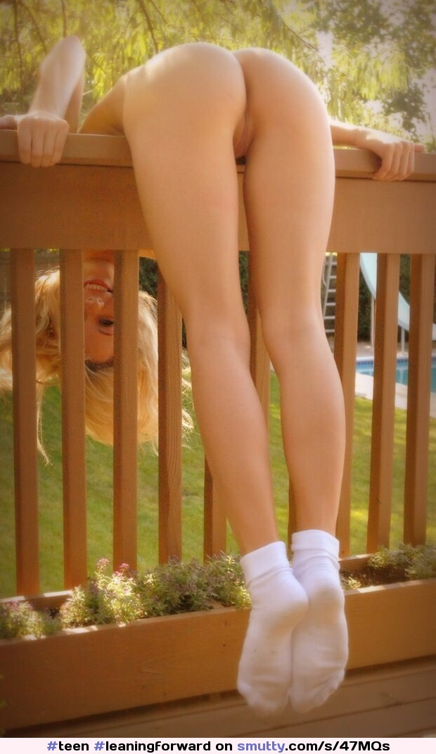 #teen #leaningforward #balcony #rail #tightass #tightpussy #shavedpussy #baldpussy #neatcunny #nicebutt #female