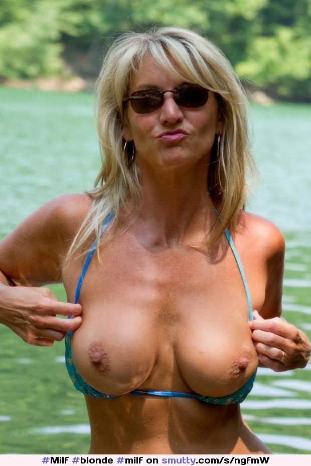 Silicone tits milf blonde