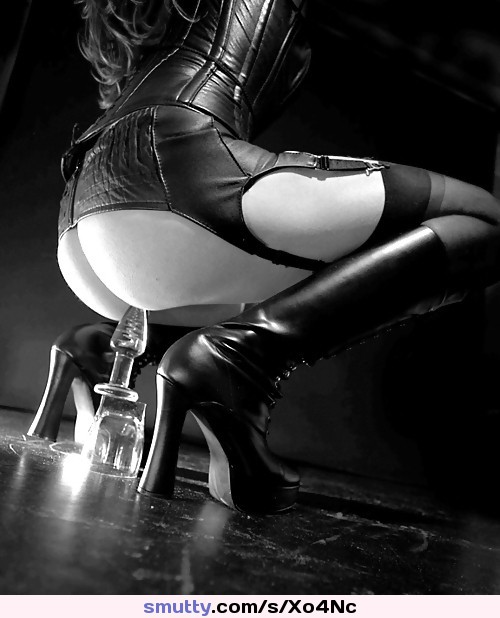 #BlackAndWhite #leather #toy #buttplug #boots #heels #stockings #corset #ass #butt #anal #hot #plug