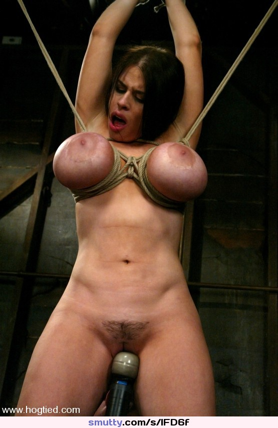 Big titted blond, takes heavy breast bondage