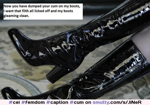 bootjobs cum on mistress boots