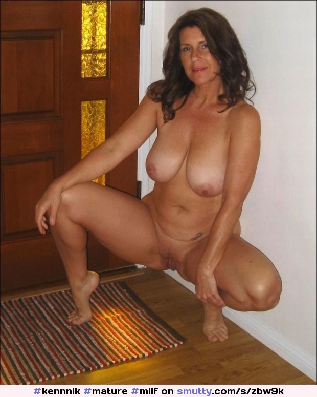 Squatting naked wife
