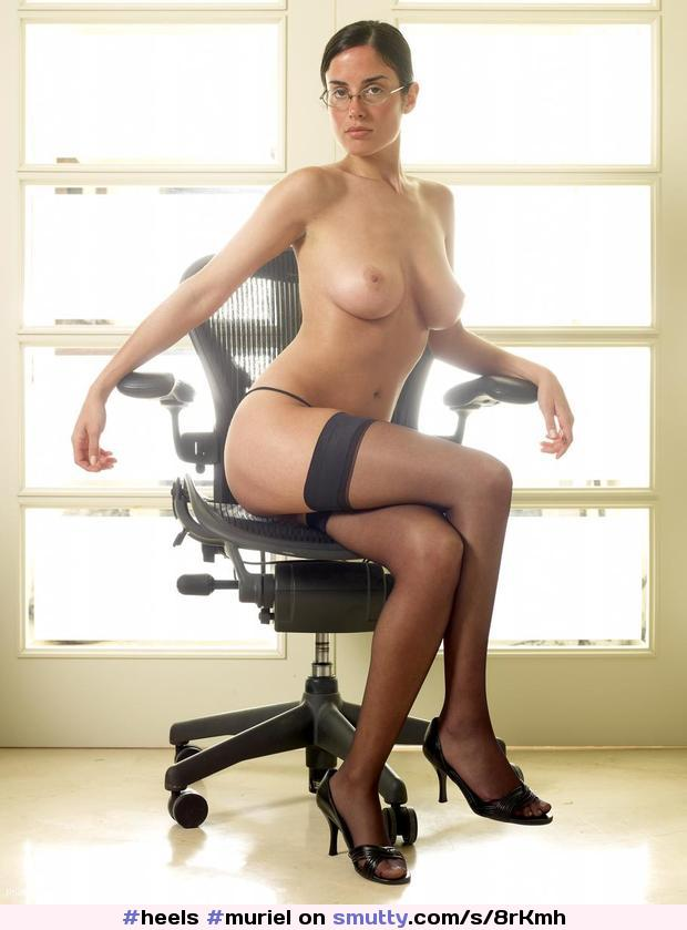 #Muriel the sexy #secretary. #glasses #bigtits #bigboobs #sexyeyes #office #sittingdown #inchair #comeandfuckme #HegreArt #stockings #heels