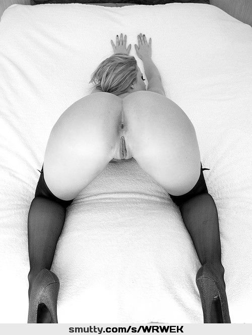 #BlackAndWhite #heels #stockings #onbed #ready #closedeyes #sexy #ass #shavedpussy #seducing