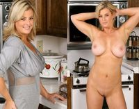 Blonde milf dressed undressed