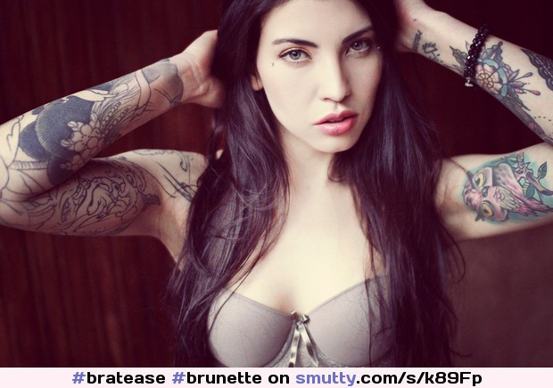 #Brunette #Sexy #Eyes #PrettyFace #Tattoo #Breasts #LongHair #Bra #Slave