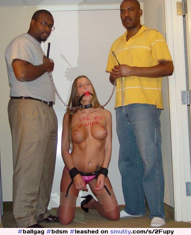 bdsm leashed submissive wife interracial threesome