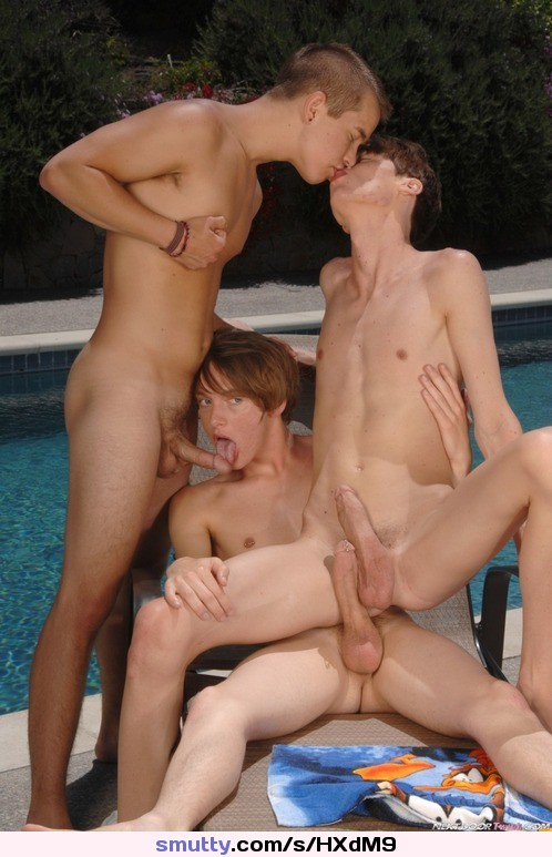 Young gay twink threesome