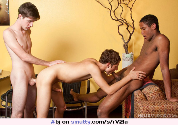 Twink has interracial threesome with cock sucking