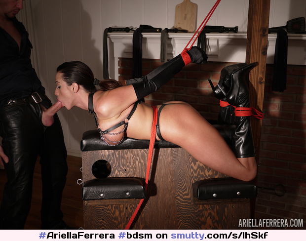 #AriellaFerrera#bdsm#cocksucking#ropebondadge#highheelboots#ponytail#brunette#restrained#MasterSlave#submissive#submission#breast#hot#kinky#