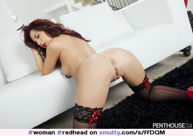 #woman #redhead #longhair #eyesdown #onallfours #frombehind #smalltits #nipples #openlegs #shaved #pussy #asshole #stockings #SabrinaRouge