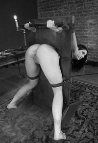 Naked woman in the pillory congratulate, your