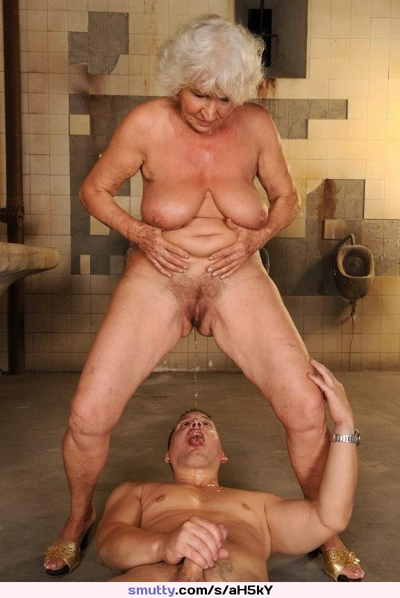 Girls fuck and piss on granny