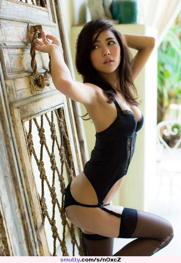 Hot Filipina beauty in black lingerie