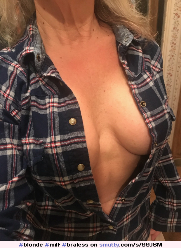 #blonde #milf #braless #unbuttoned #shirtopen #cleavage