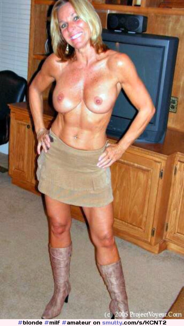 Blonde Milf Amateur Topless Hardbody Fit Shortskirt Boots  -8485