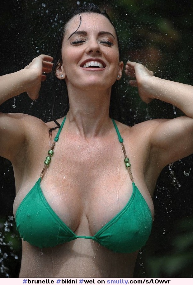 #brunette #bikini #wet #cleavage #pokies #hardnipples #waterfall #bignaturaltits #nonnude