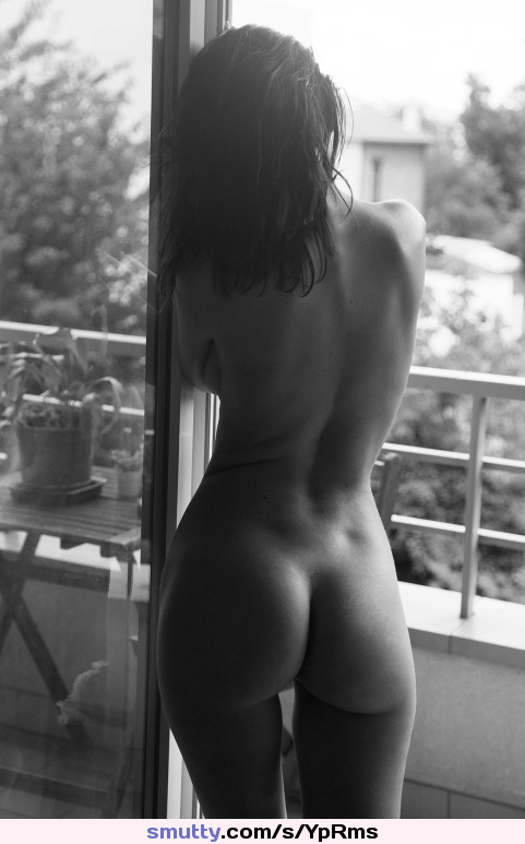 #BlackAndWhite #Ass #BackDimples #Brunette #Nude