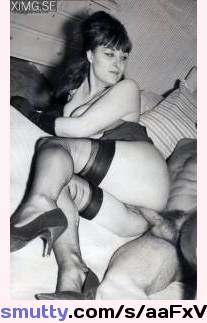 Retro female in lacy stockings and garter belt fucked up her hairy pussy in rare vintage hardcore porn-36863