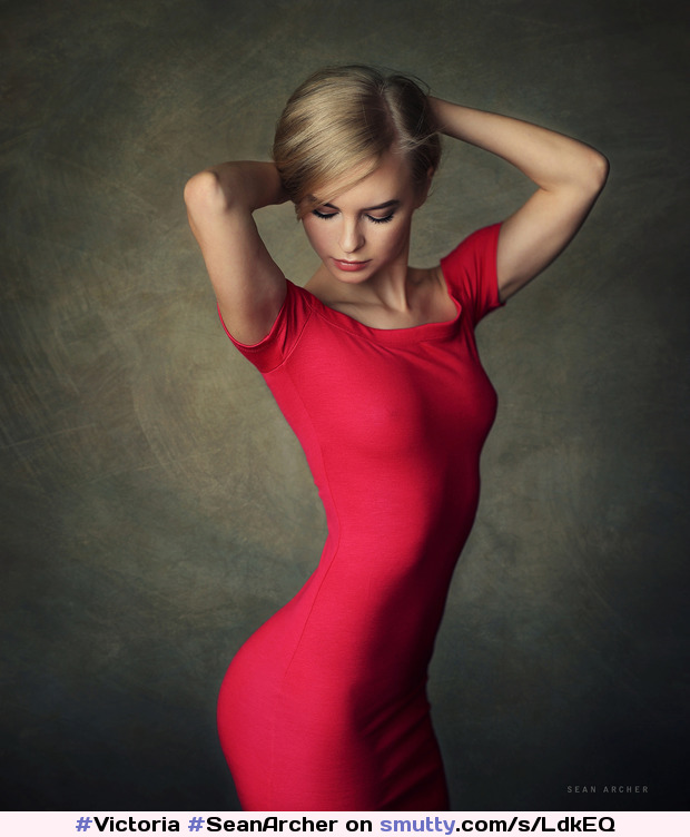 #Victoria by #SeanArcher #reddress #closedeyes #nonnude #blonde #beauty #beautiful #portrait  #handsbehindhead #delicate #feminine