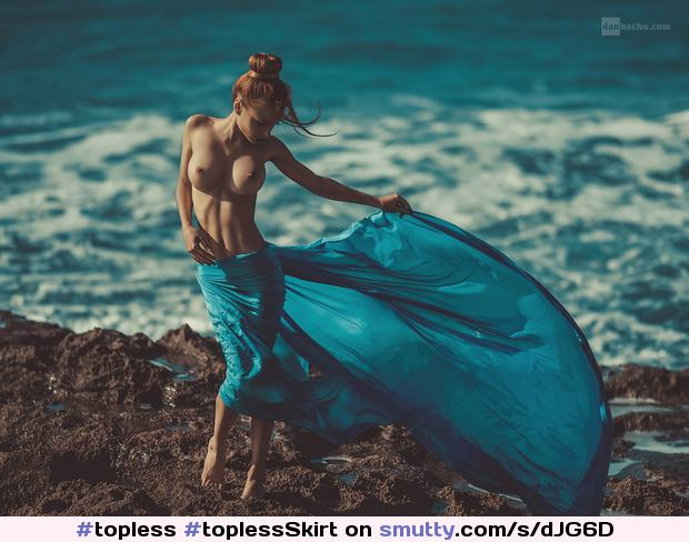 #topless#toplessSkirt#blue#bun#waves#blueSkirt