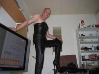 Finnish kinky leather gay dildo masturbates