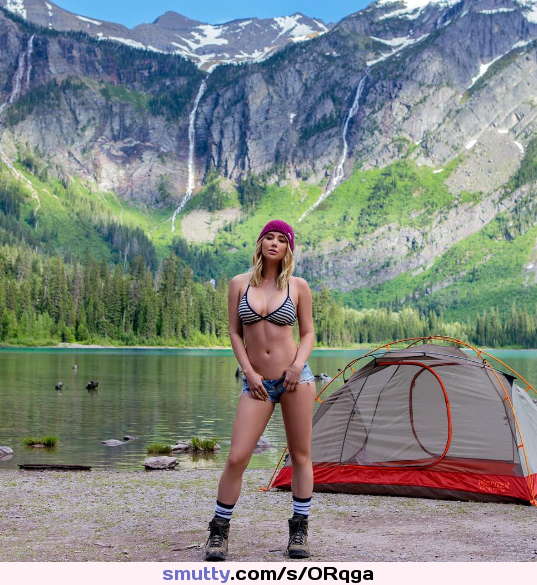 #nonnude, #fit, #outdoors, #jeanshorts, #flatstomach, #greatbody, #niceview, #happycamper