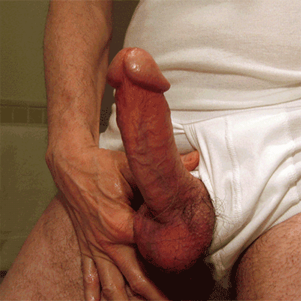 Uncut curved cock throbbing and cumming