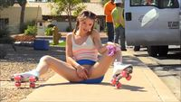 #AuroraBelle #public #publicmasturbation #pigtails #brunette #legsspread #pinkpanties #playingwithpussy #outdoors #cute #smalltits #teen