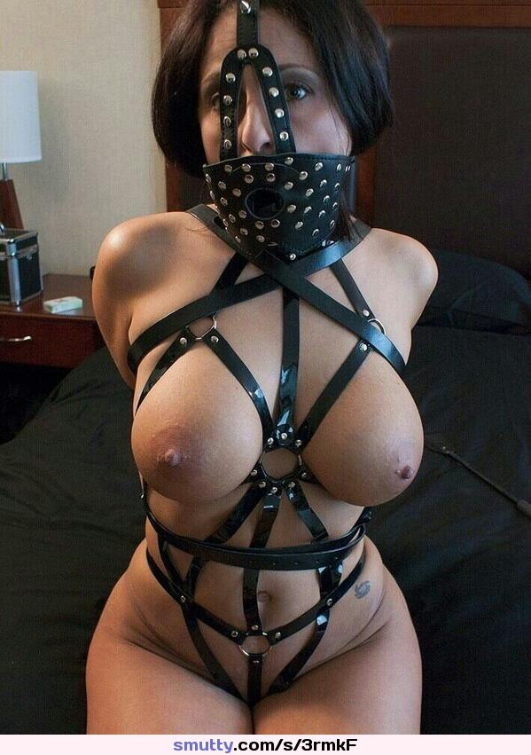 #bdsm #bondage #gagged #harness #leatherharness #titsout #nicetits #bigtits #leather