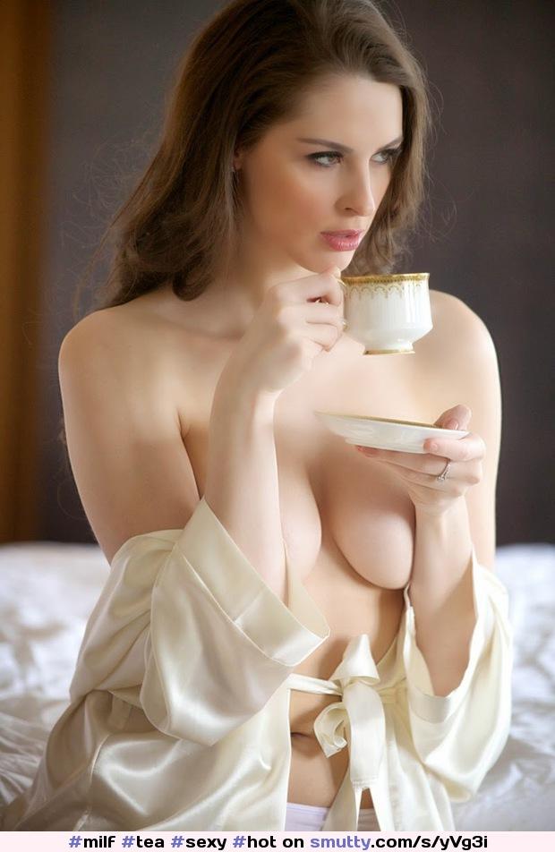 Milf Tea Sexy Hot Brunette Offtheshoulder Cleavage -4647