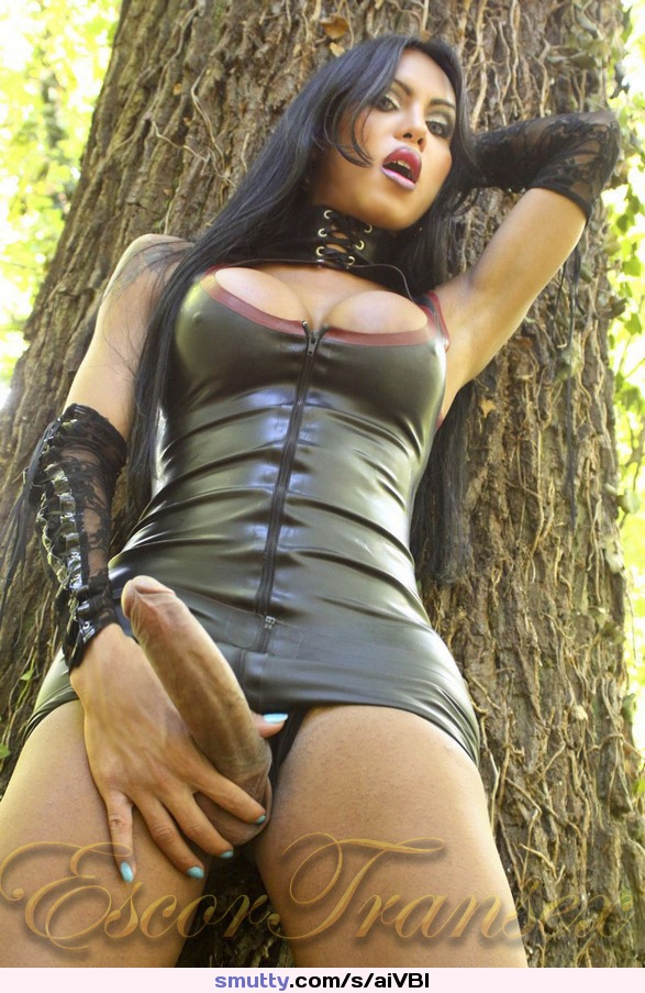 #Shemale #LucianaFoxx #leather #dress #leatherdress #shemaleleather