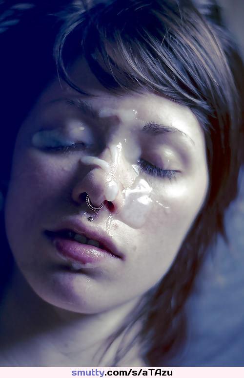 Cum facial piercings brunette amateur