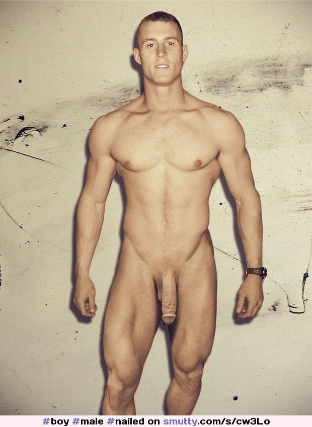 Nude male art model poses