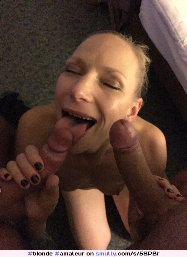 #blonde #amateur #happygirl #cockinmouth #justthetip #tongueout #lickingcock #twococks