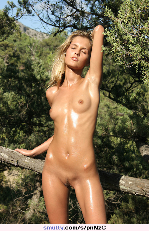 Sexy nude blonde outdoors wife
