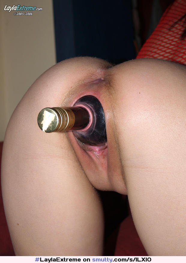Girl inserts bottle up ass 8