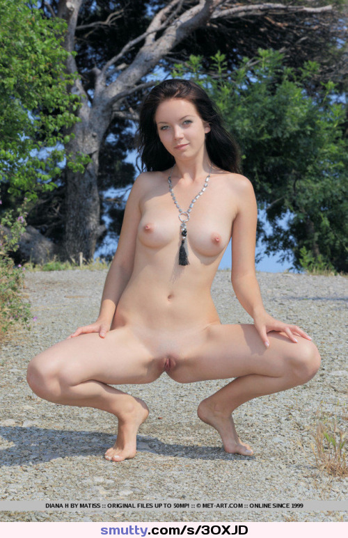 #DianaH #brunette #eyecontact #tits #flatstomach #shaved #pussy #squatting #outdoors