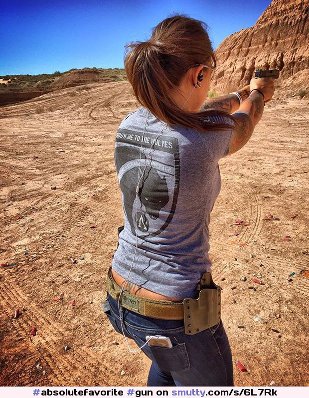 #absolutefavorite #gun #pistol #tshirt #jeans #bigass #trampstamp #tattoo #ponytail #shooting #outdoors #country #countrygirl