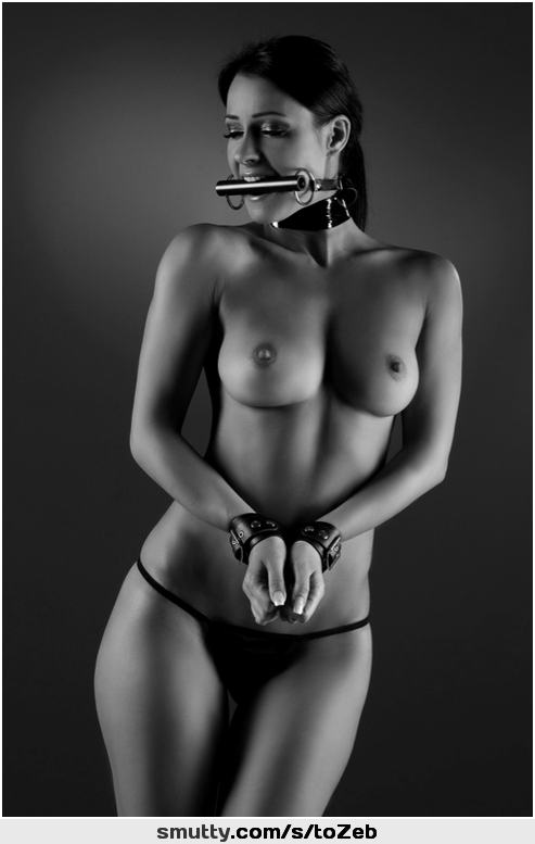 #BlackAndWhite #topless #cuffs #cuffed #gag #gagged #bitgag #eyesclosed #collar #collared #submissive #subby #subbie #SubmissiveGirl