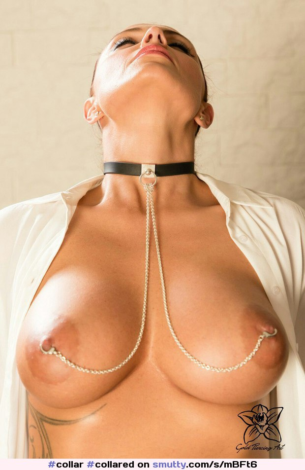 #collar #collared #nipplechain #nipplepiercing #piercednipples #pierced #submissive #submissivegirl #titsout