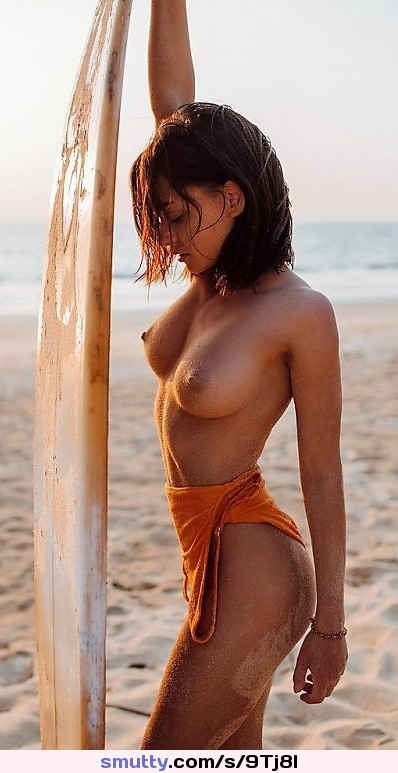 #erotic #beautiful #beach #topless #surfer #brunette