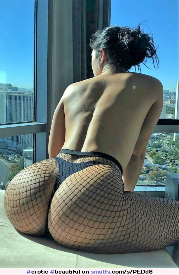 #erotic #beautiful #fishnet #hourglass #sitted #brunette #rearview