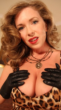 Here Mistress t leather gloves agree with