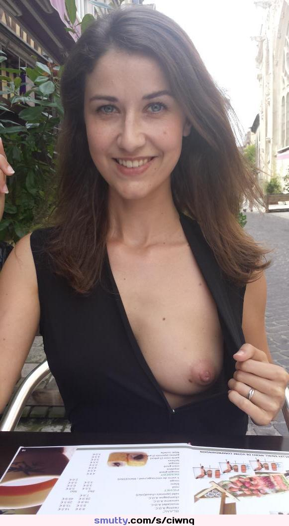 #onetitexposed #onetitout #dresspulleddown #sexy #hot #milf #date #firstdate #smalltits #blackdress #iwanttoundressherandfuckher #gorgeous