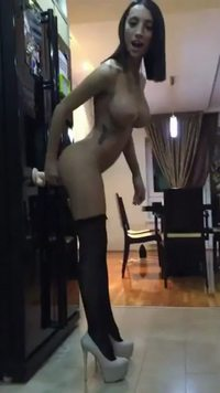 #gif #webcam #camgirl #dildo #bigtits #frombehind #tattoo #brunette #amateur #stockings #highheels