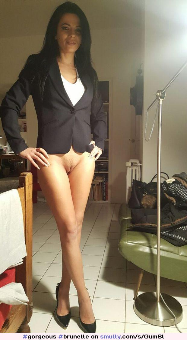 #gorgeous #brunette #heels #submissive #goodgirl #obedient #secretary #officegirl #bottomless #prettypussy #tease #longlegs