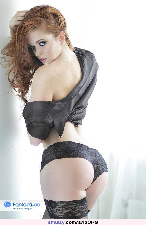 #lingerie #pinup #ass #booty #stockings #panties #lace #satin #slutwear #lookingback #redhead #freckles