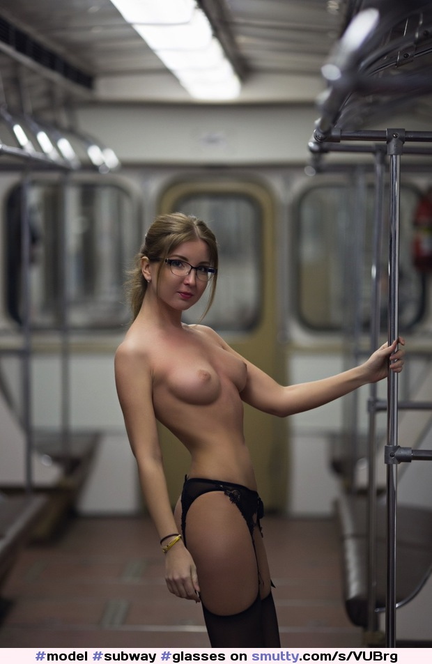 #model #subway #glasses #topless #panties #stockings #garters #blonde #abs #fit #tight #model